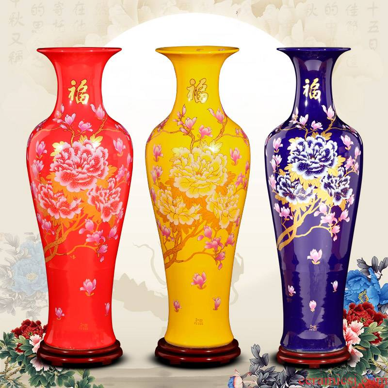 Jingdezhen ceramic Chinese red large sitting room adornment landing big vase European furnishing articles of modern fashion
