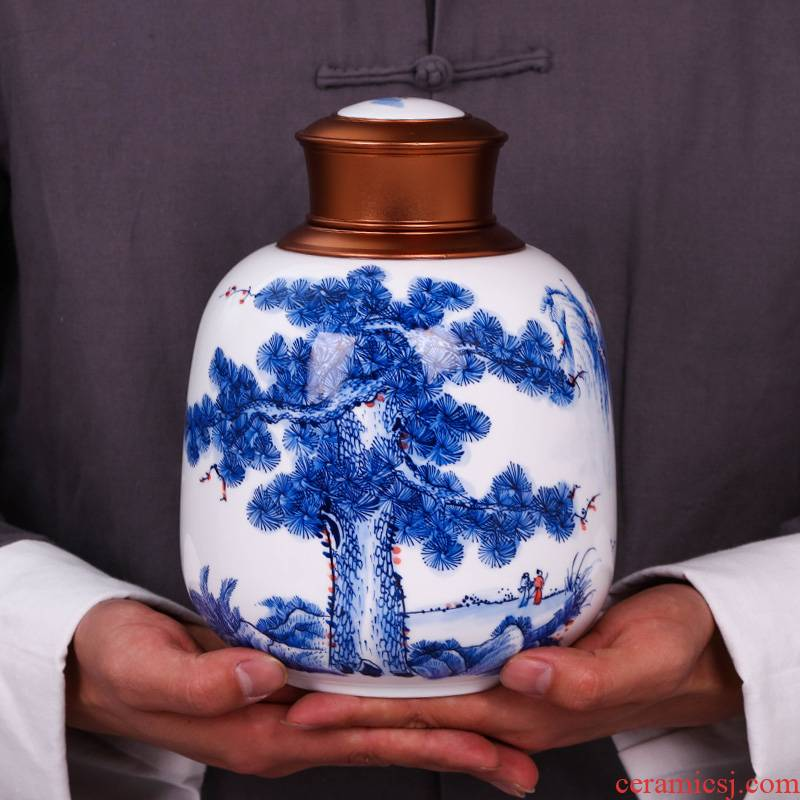 Jingdezhen blue and white caddy fixings household seal pot porcelain ceramic hand - made trumpet puer tea pot