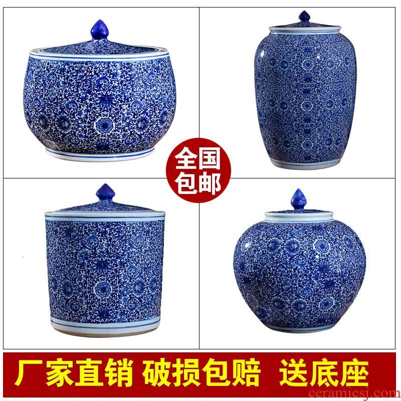 Jingdezhen domestic ceramic barrel ricer box store meter box 20 jins 30 jins with cover tank cylinder storage tank