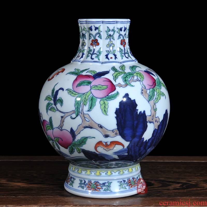 Archaize of jingdezhen blue and white porcelain vase bucket color peach flower household fashionable sitting room adornment is placed