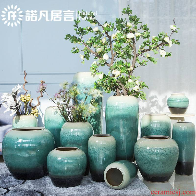 Jingdezhen ceramic large vases, new Chinese style hotel sitting room simulation flower flower arranging furnishing articles club villa decoration decoration