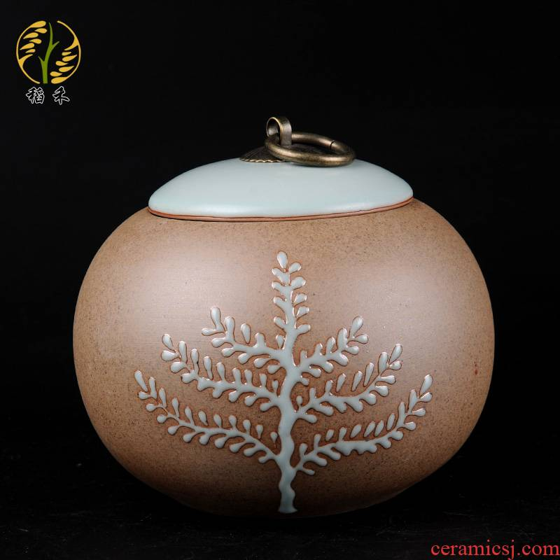 Coarse pottery caddy fixings your up storage POTS large storage tank ceramic seal pot POTS Coarse cereals snacks pot home