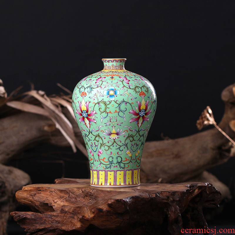 Jingdezhen ceramics imitation the qing qianlong pastel green branch lines name plum bottle home sitting room handicraft furnishing articles