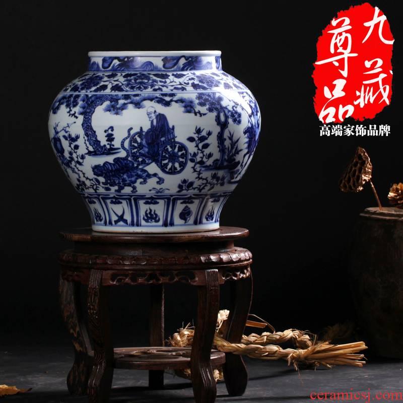 Jingdezhen blue and white antique ceramics guiguzi setting figure large pot vase home sitting room adornment is placed the process