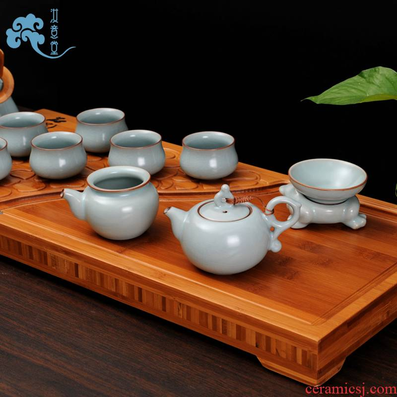 Your up tea set suits for Chinese ceramic kunfu tea tea ice to crack the teapot teacup office household gift boxes