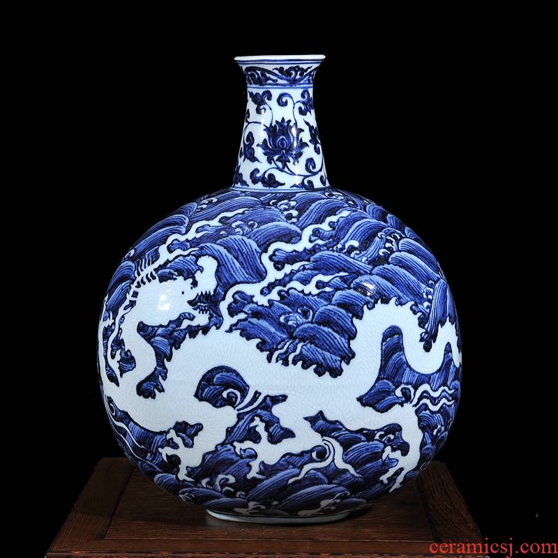Jingdezhen ceramic high - end antique blue and white dragon in water tree sitting room place vase home decoration process