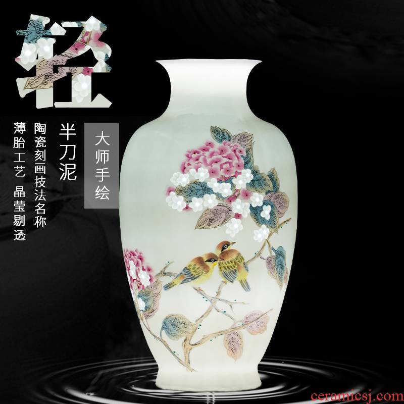 The Master of jingdezhen ceramic masters hand carved flowers vase Chinese sitting room porch decoration furnishing articles