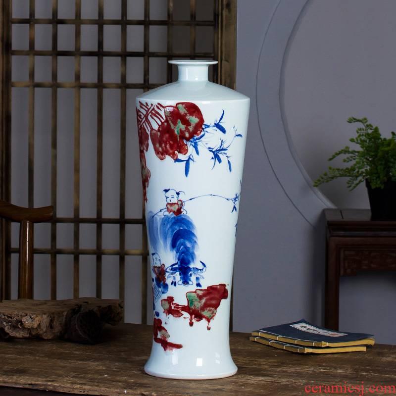 Famous master of jingdezhen ceramics hand - made vases, flower arrangement enjoy sitting room of Chinese style household decorative furnishing articles