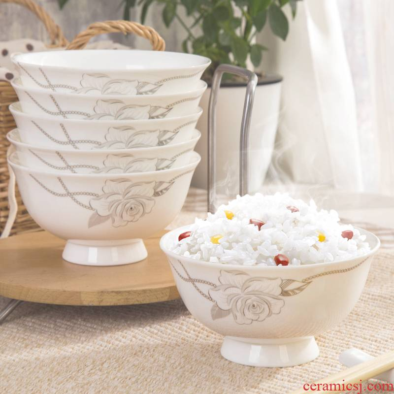 Jingdezhen ipads bowls of household of Chinese style 5 inches tall hot bowl of blue and white porcelain bowls of rice, a microwave proof bowl