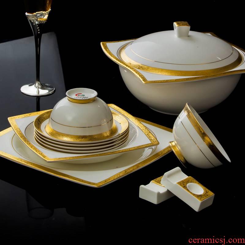 Tableware suite 58 first European ipads bowls disc of jingdezhen ceramics I housewarming Korean bowl plate embossed gold