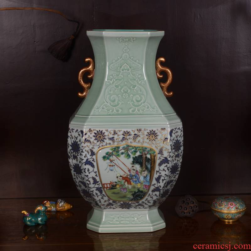 Jingdezhen ceramics imitation the qing qianlong hand - made shadow carving paint craft vase household adornment furnishing articles