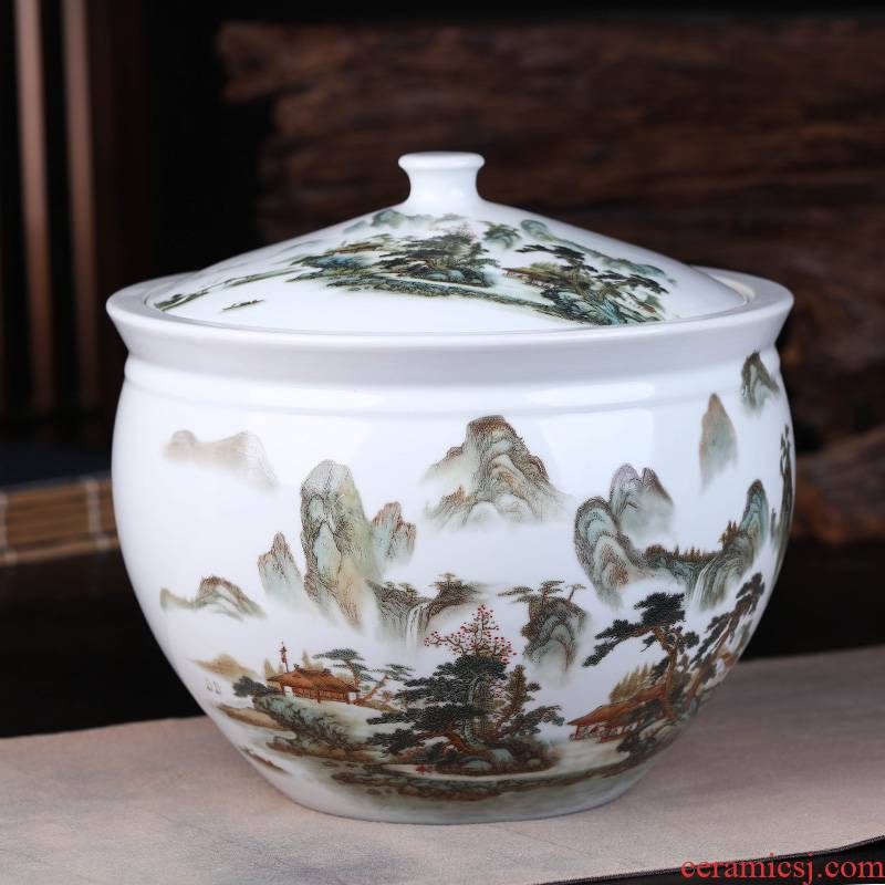 Blue and white landscape of jingdezhen ceramics pu 'er tea pot seal pot of tea gift box packaging household receives gifts