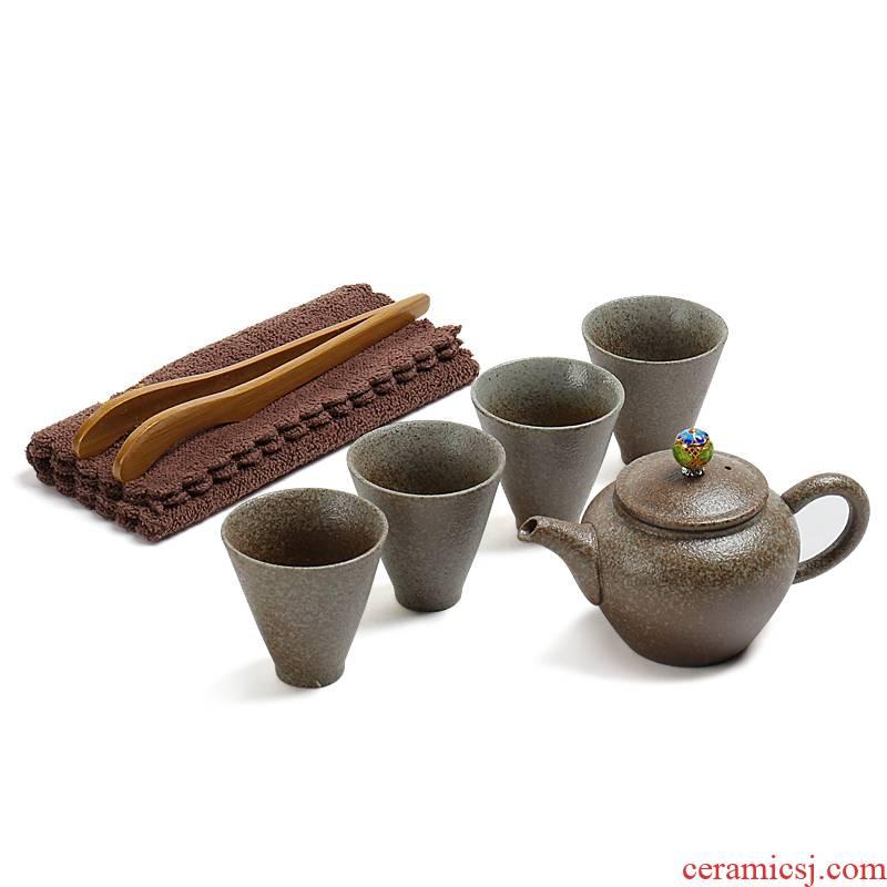 Travel ZongTang ceramic tea set a pot of four Japanese and coarse pottery glaze stone tea vintage kung fu tea set