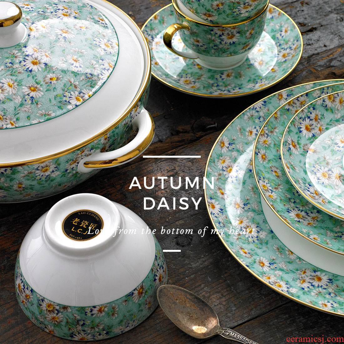 Manual paint Japanese dishes Daisy jingdezhen ceramic tableware coffee cup gift set tableware DIY custom