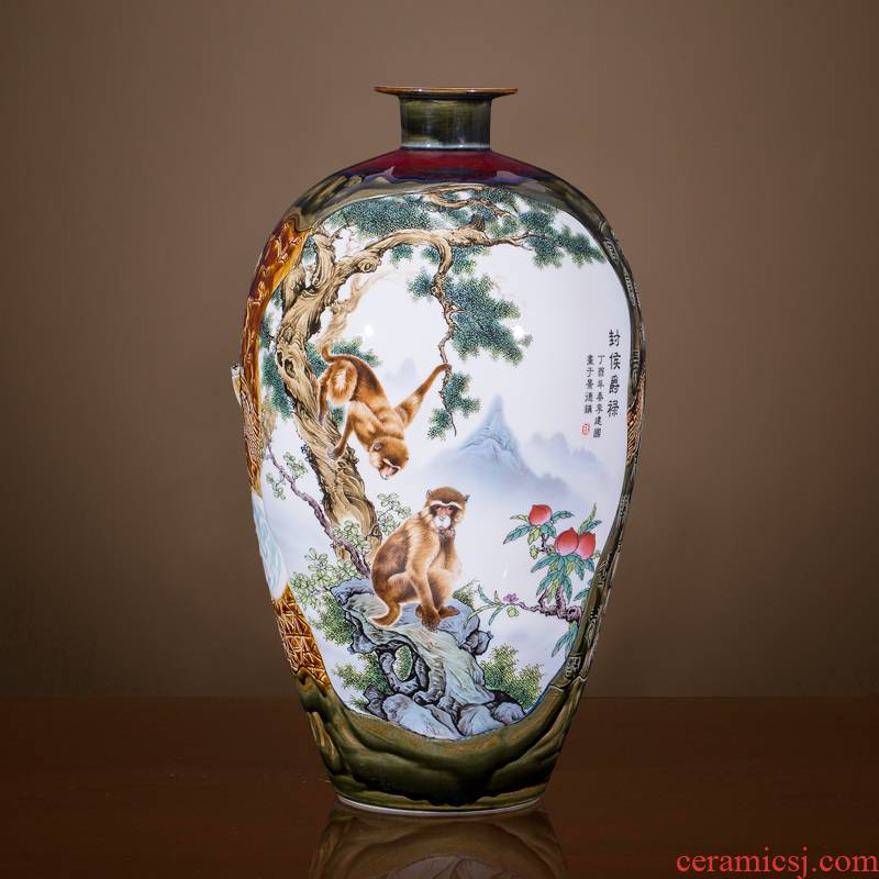 Jingdezhen ceramics powder enamel famous master of large vase decoration of new Chinese style household, sitting room adornment is placed