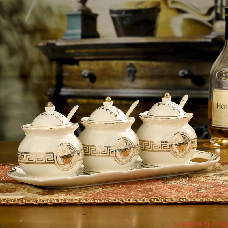 European ceramic sauce seasoning GuanPing boxed set creative kitchen seasoning box of seasoning salt shaker 3 times