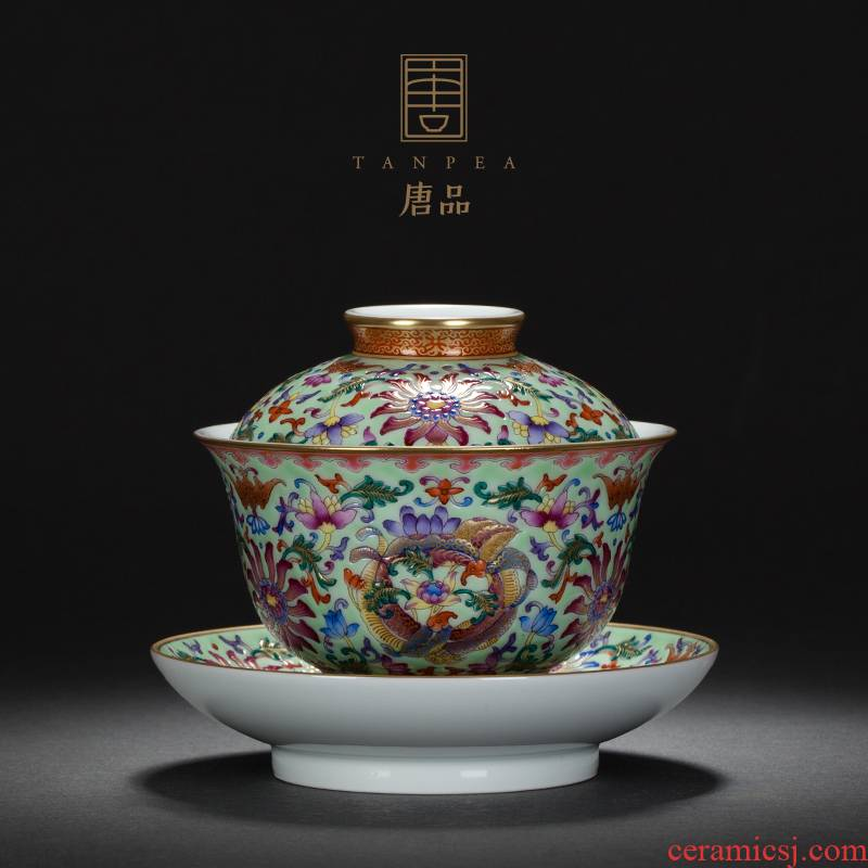 Jingdezhen ceramic hand - made colored enamel see colour tie back as only three lines all hand tureen lotus tea tea bowl