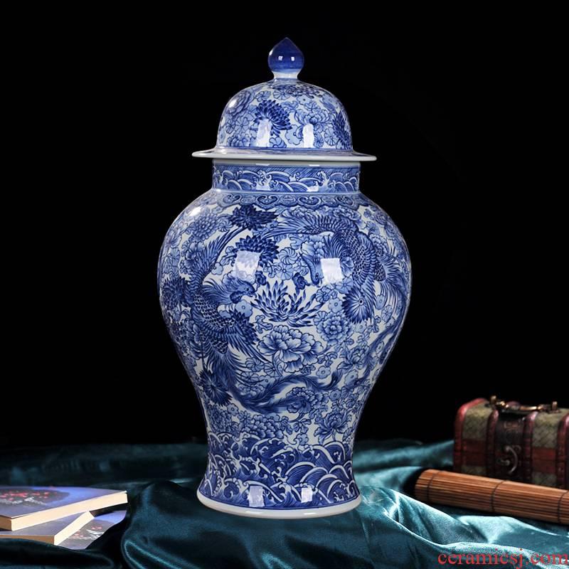 Jingdezhen ceramic vase high - end antique qianlong general blue home decoration craft flower furnishing articles