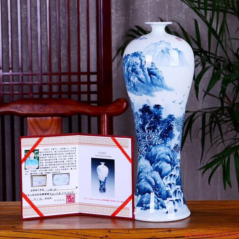 The Master of jingdezhen blue and white porcelain ceramic vase hand - made mei bottles of modern home decoration mountains scenery of jiangnan furnishing articles