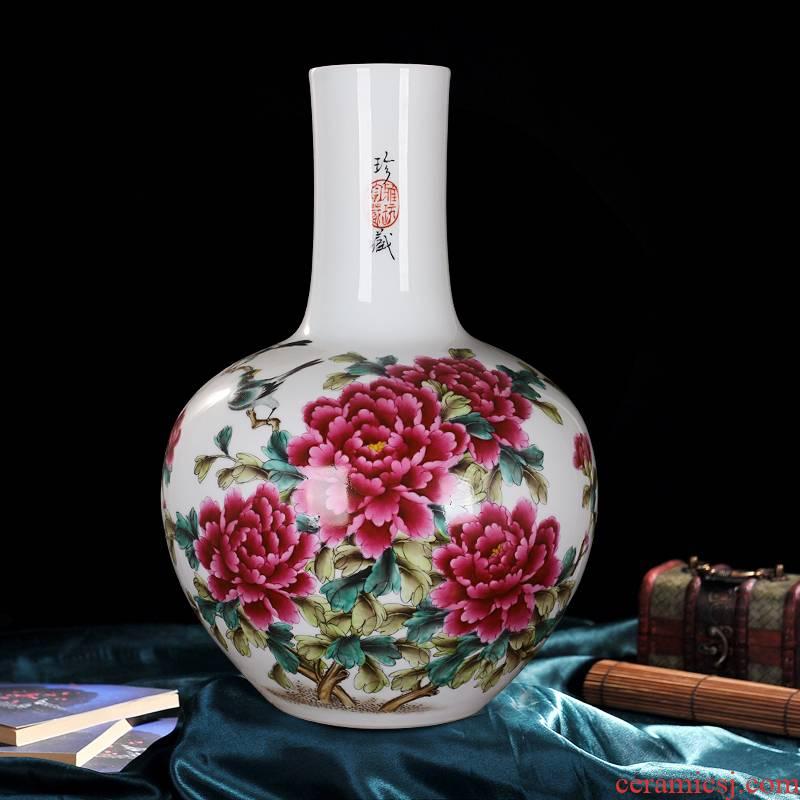 Jingdezhen ceramics powder enamel vase peony hand - made blooming flowers of the reward bottle of sitting room furniture handicraft furnishing articles