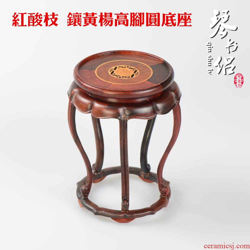 Pianology picking red rosewood carving it flower vases, flower miniascape of furnishing articles base figure of Buddha of circular base