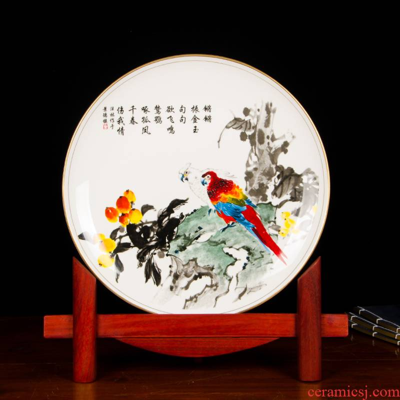 Z032 jingdezhen chinaware paint edge ipads China hang dish decorative plate of the sitting room decorates place large parrot