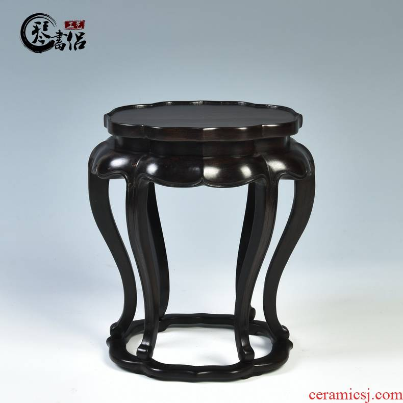 Ebony wood carving handicraft household act the role ofing is tasted furnishing articles purple wingceltis haitang several vase base solid wood are it base