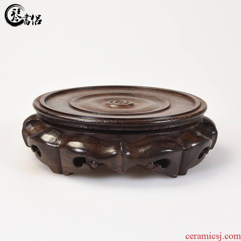 Pianology picking ebony woodcarvings monolith round wooden base antique vase base solid wood flower miniascape of base