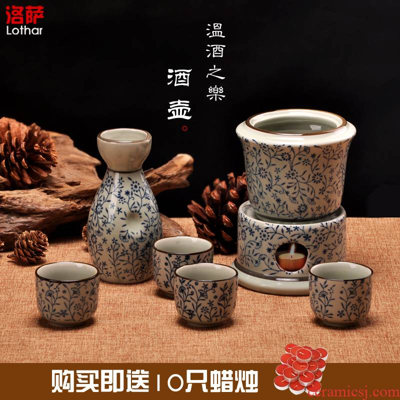 Temperature wine pot rice wine liquor bottle of jingdezhen ceramics gift wine glass hot warm hip flask he its drank furnace