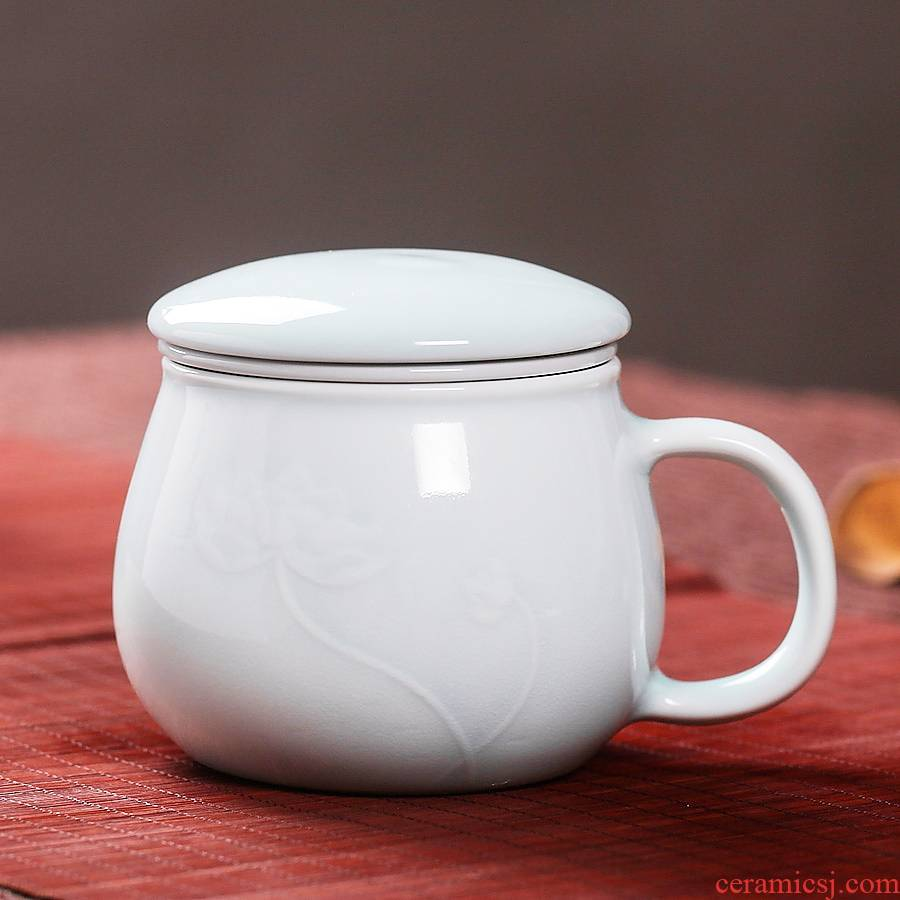 Ceramic cups shadow celadon cup cup with cover filter jingdezhen porcelain cup office cup tea cup tea cup