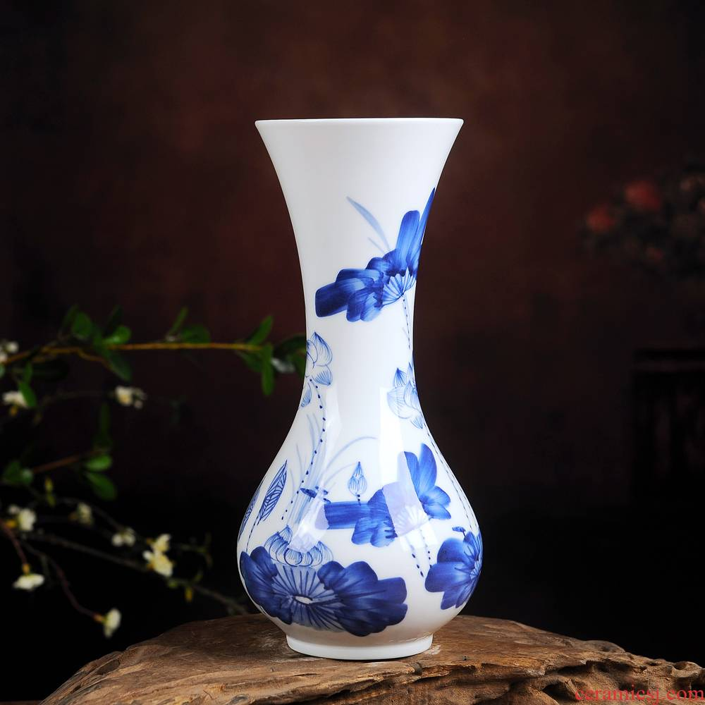 Jingdezhen ceramic floret bottle of dry flower adornment is placed in the sitting room is blue and white lucky bamboo hydroponic flower arranging hand - made crafts