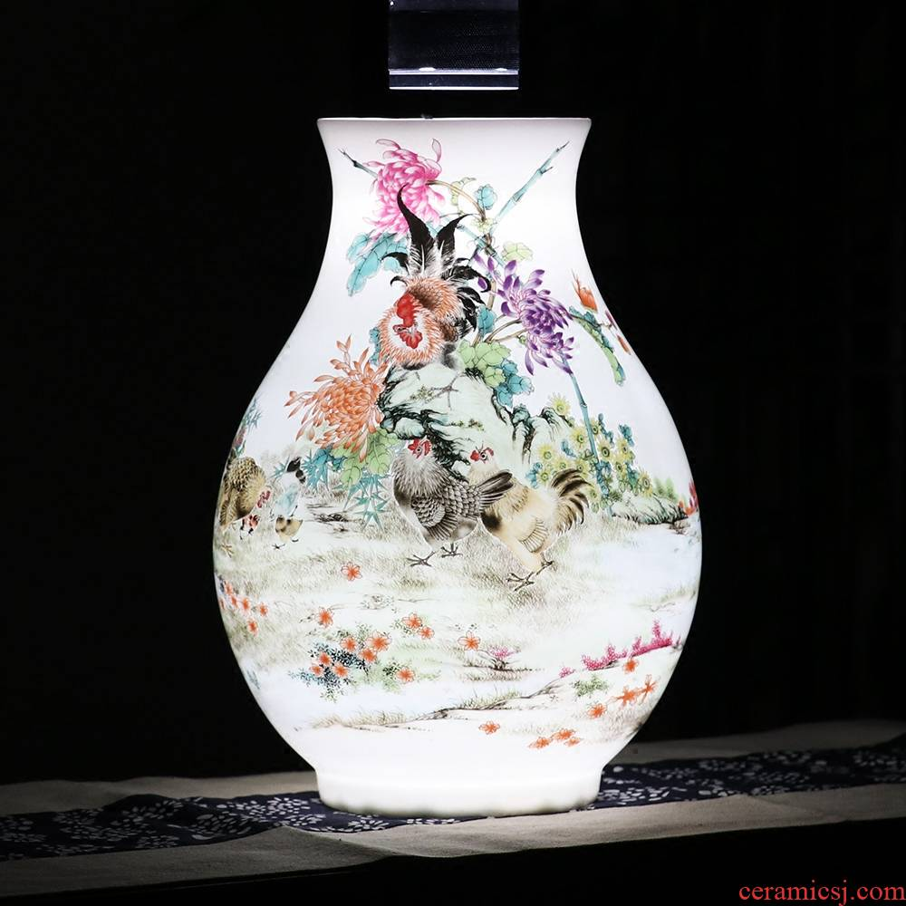 Jingdezhen ceramic vases, furnishing articles flower arranging flower implement pastel rooster figure sitting room of Chinese style household decoration wine cabinet mesa