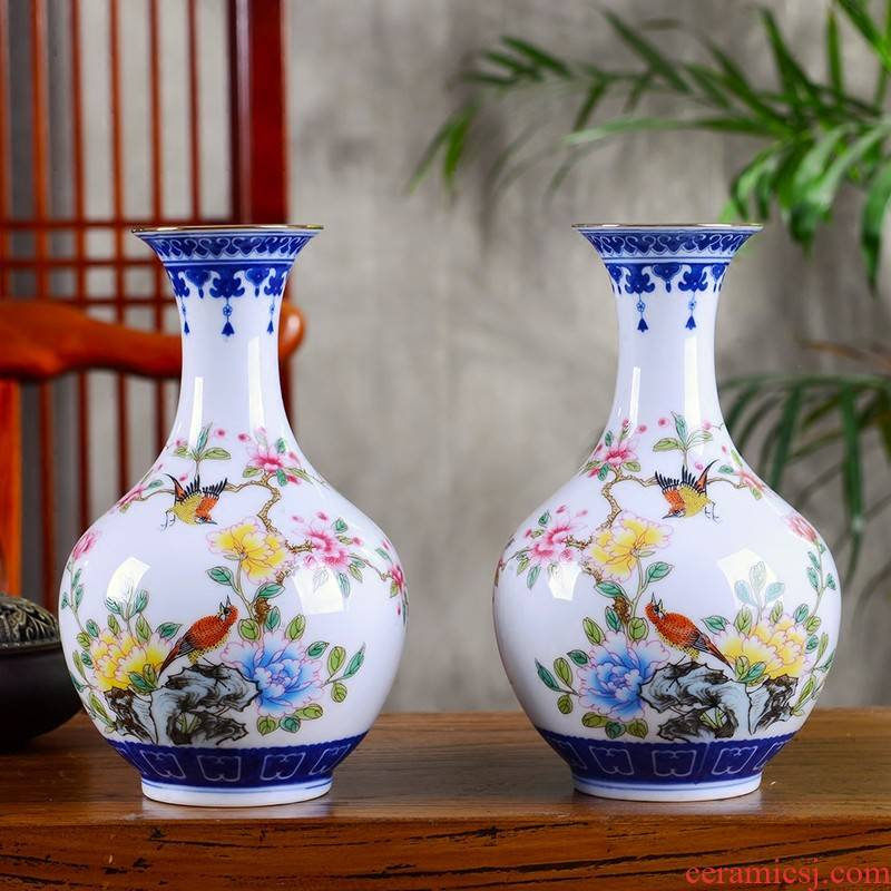Jingdezhen ceramic floret bottle place flower arranging flower implement powder enamel flowers sitting room porch decoration of Chinese style household