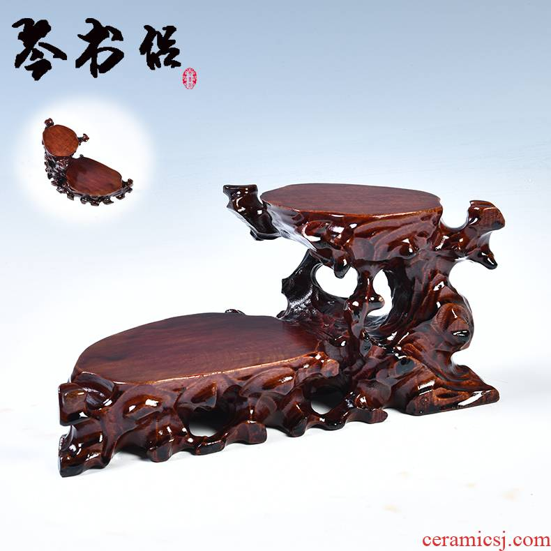 Solid wood base it base flowerpot decorative furnishing articles tea base and base Solid wood, stone base