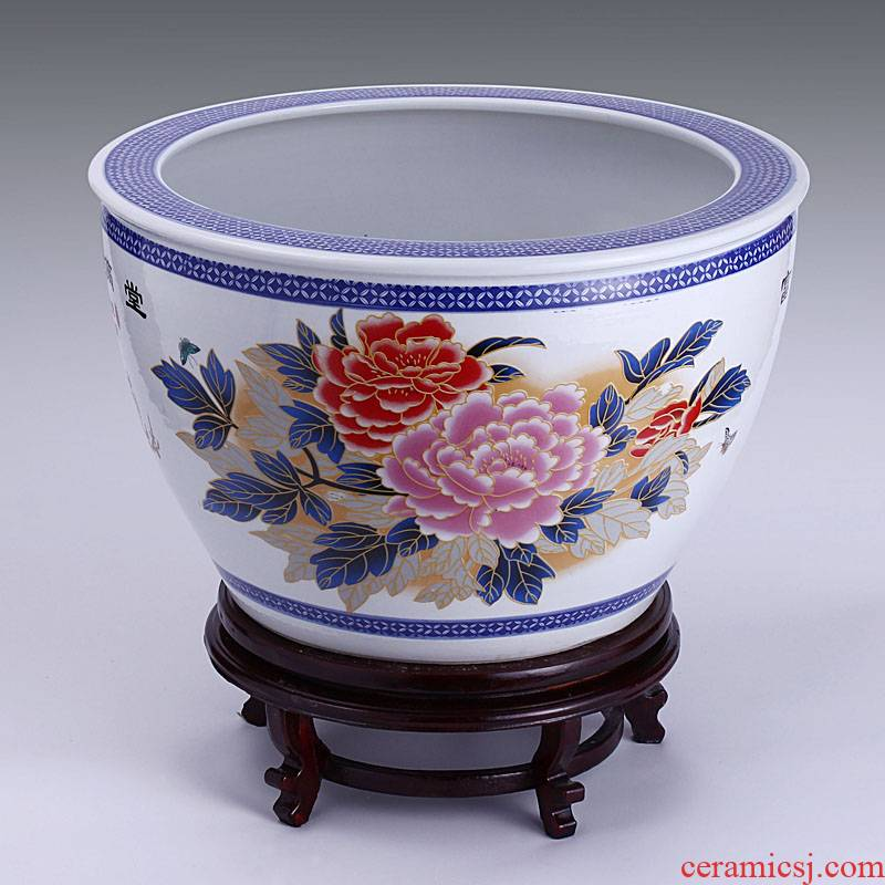 Jingdezhen ceramic filter tank large fountain tortoise cylinder goldfish bowl wealth and fertility