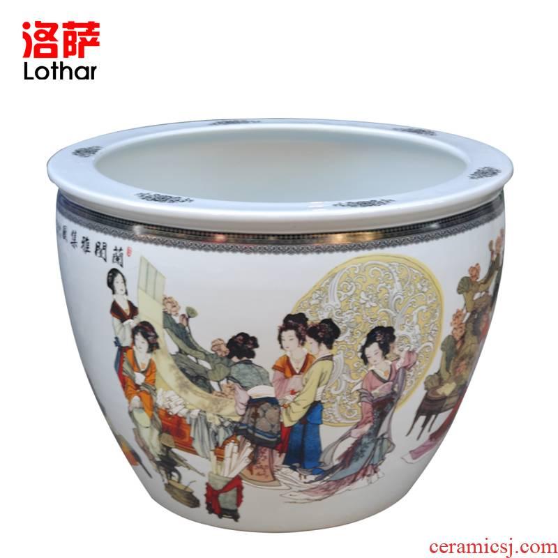 Lothar jingdezhen ceramic fish tank enamel lotus lotus goldfish tank birdbath aquatic animals box turtles