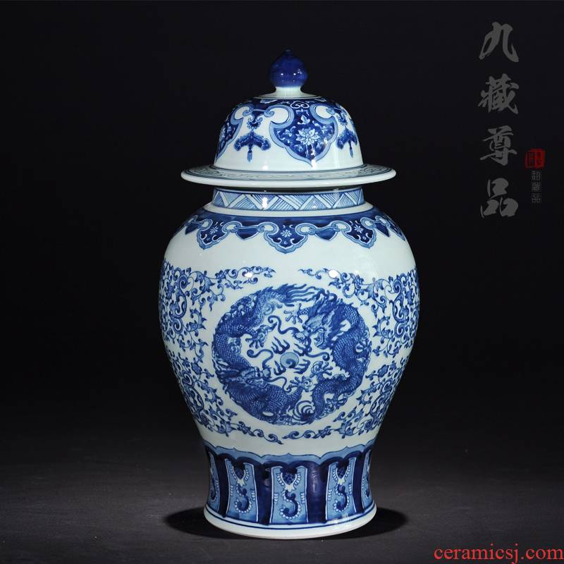 Jingdezhen ceramic vases, antique general blue dragon playing bead tank storage tank Chinese sitting room adornment is placed