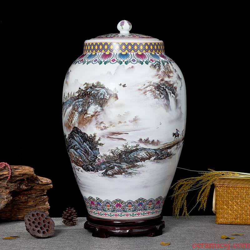 Jingdezhen porcelain with cover to the barrel storage box barrels 20 jins 30 jins jars 50 kg oil tank