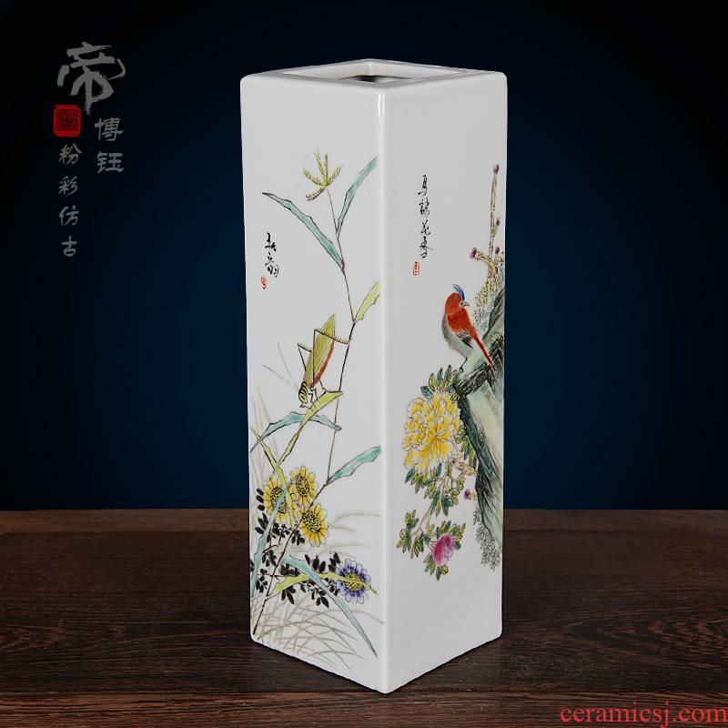 Jingdezhen ceramics imitation the qing qianlong pastel antique hand - made flowers vase household handicraft furnishing articles