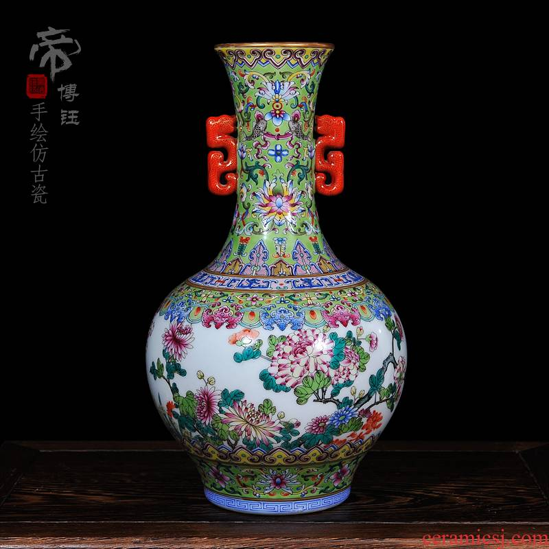 Archaize of jingdezhen ceramics powder enamel ears ceramic vase craft vase, home act the role ofing fashionable sitting room place vase