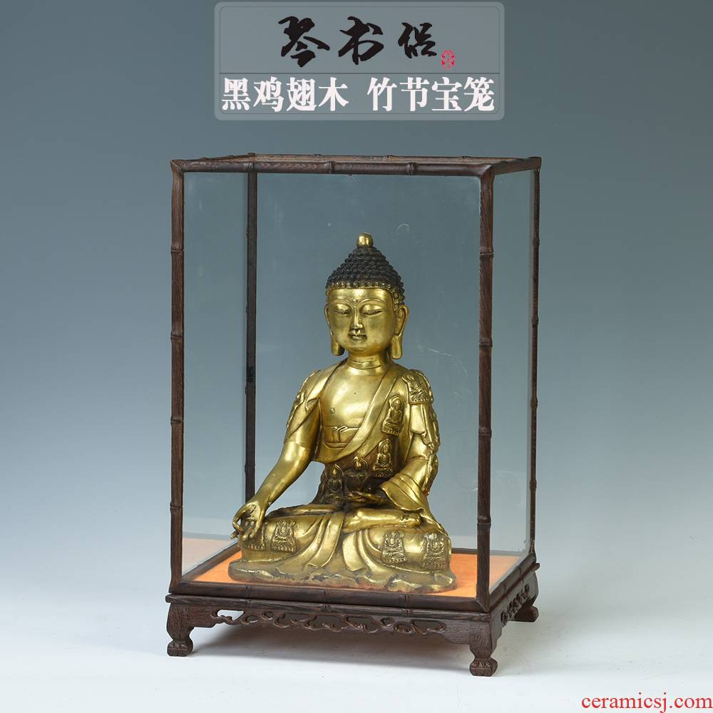 Chicken wings wood tiger foot bamboo cage treasure the glass display box woodcarving figure of Buddha base order the dust cover can be made to order