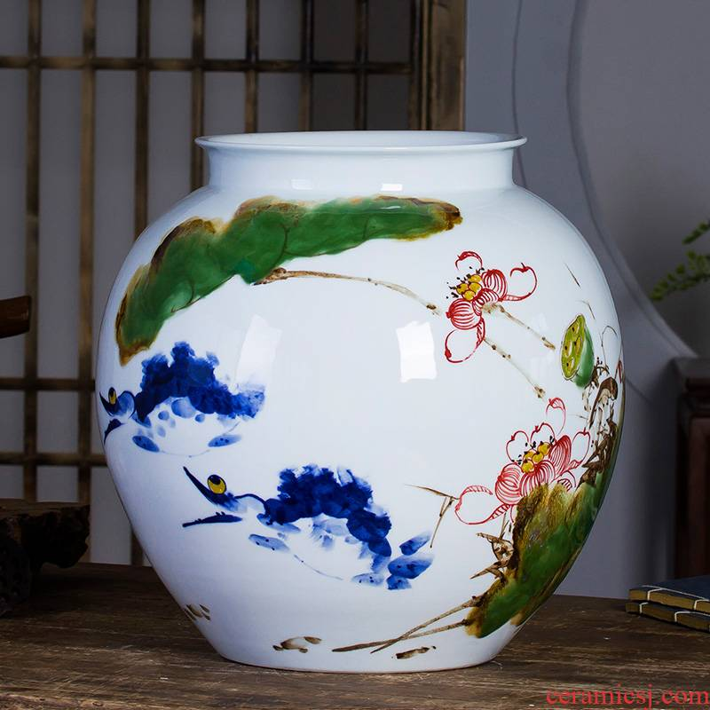 Jingdezhen ceramic powder enamel famous hand - made vases, harmony is the sitting room of Chinese style household rich ancient frame decorative furnishing articles