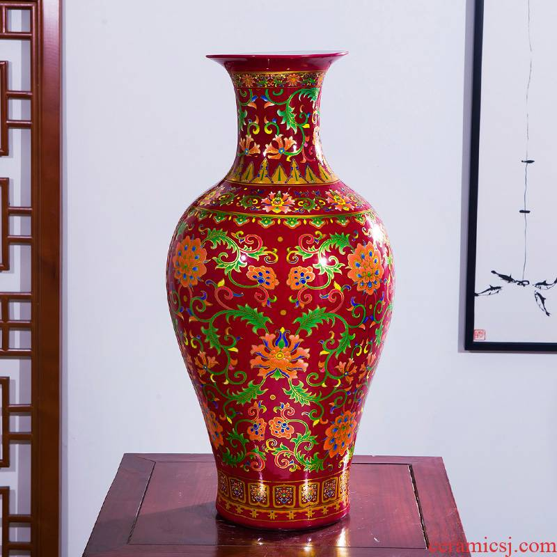 Chinese red enamel Chinese jingdezhen ceramics of large vase home decoration crafts are sitting room