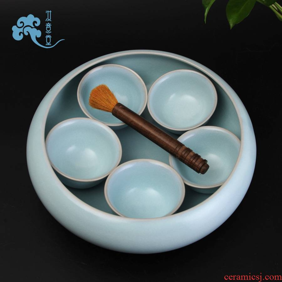 Your up celadon porcelain tea to wash large checking ceramic wash tea kungfu tea accessories cup water, after the restoring ancient ways