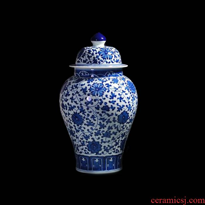 The General blue and white porcelain jar ceramic furnishing articles sitting room old antique hand - made jingdezhen ceramics vase household ornaments