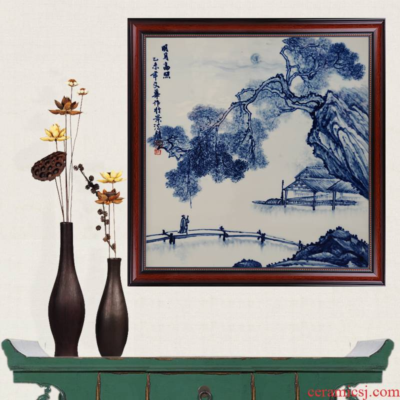Blue and white hand draw the moon was shining porcelain jingdezhen ceramics famous masterpieces partition handicraft painting murals sitting room