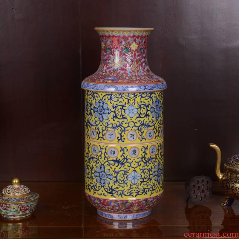 Jingdezhen ceramics high - end antique qianlong three layer technological sitting room place lotus bottle of home decoration