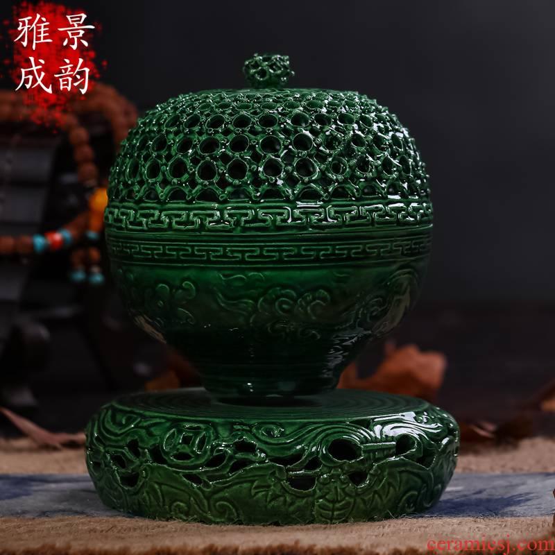 Jingdezhen ceramics large smoked censer sink the present household dish lie sandalwood aloes indoor incense buner base