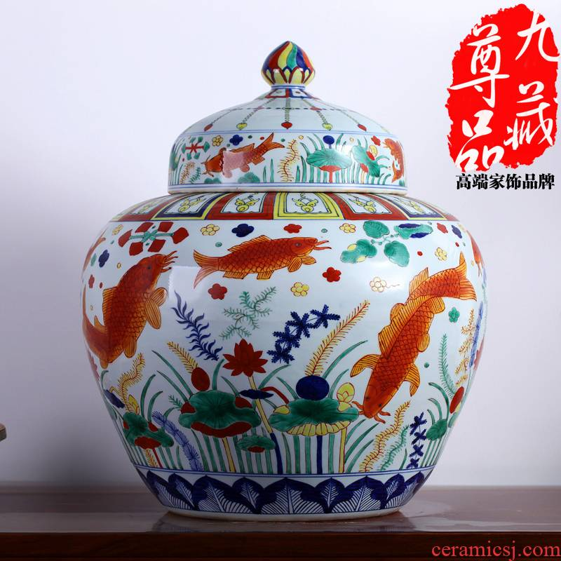 Jingdezhen ceramics imitation Ming jiajing colorful fish and algae grain tank vase vogue to live in the sitting room of archaize furnishing articles