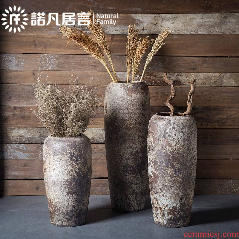 Jingdezhen modern minimalist checking coarse pottery jars do old antique vases, flower arranging dried flowers be born big flowerpot